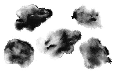 Abstract black watercolor cloud blot painting background. Texture paper. Isolated. Collection.