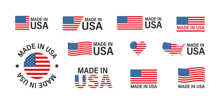 Made in the USA. Flag America set isolated icon in flat style. American production vector