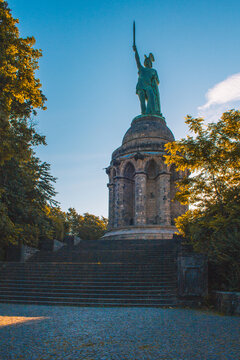 Hermannsdenkmal. Hermann Monument is the highest statue in Germany. It's located in the Teutoburg Forest, North Rhine Westphalia
