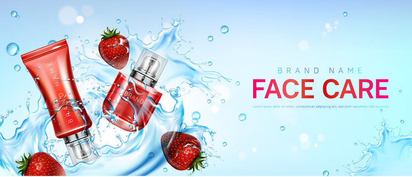 Face care products in water splash with strawberries. Vector realistic brand poster with moisturizing skin care cream, gel or masque in red bottle and tube. Promo banner, advertising background