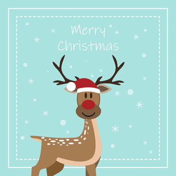 Merry Christmas and Happy New Year, Funny Reindeer with greeting card.