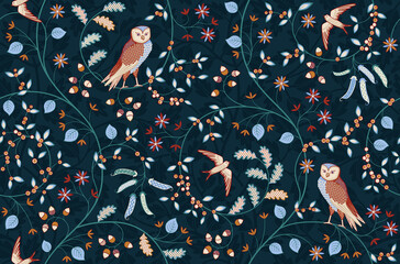 Fototapeta Vintage seamless fabric ornament with flowers and birds on dark blue background. Middle ages William Morris style. Vector illustration. obraz