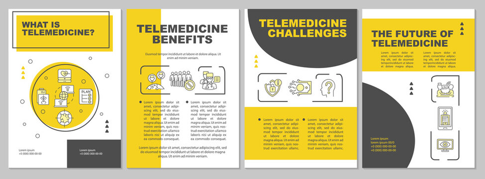 Telemedicine depiction brochure template. Teletherapy future. Flyer, booklet, leaflet print, cover design with linear icons. Vector layouts for magazines, annual reports, advertising posters