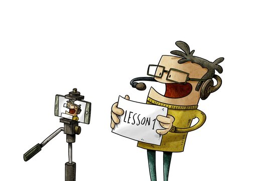 teacher is teaching the online lesson recording himself with a tripod and a mobile. isolated