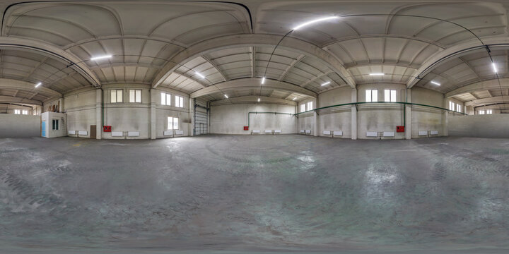 full seamless spherical hdri panorama 360 degrees in interior of large empty room as warehouse or hangar in equirectangular projection. VR AR concept