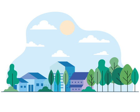 City houses with trees sun and clouds design, architecture and urban theme Vector illustration