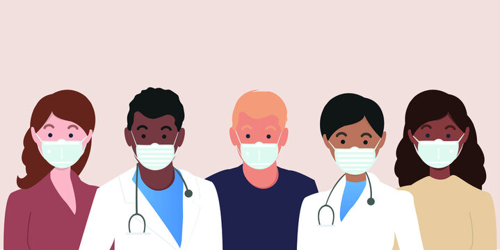 A group of people with doctors in medical masks to prevent illness, flu. Virus protection. Doctors protect people. Vector illustration in flat style