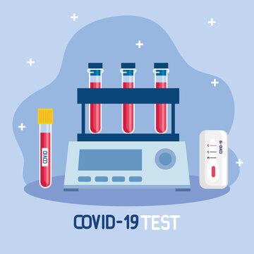 covid 19 virus test tubes design of ncov cov and coronavirus theme Vector illustration