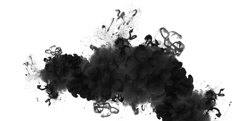 Acrylic colors flow in water. Black and white Abstract horizontal contrast background.