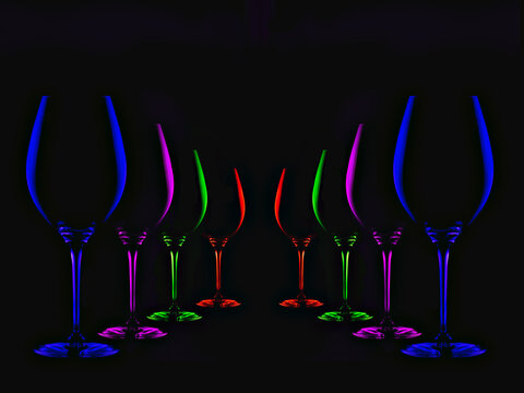Row of the colorful wine glasses