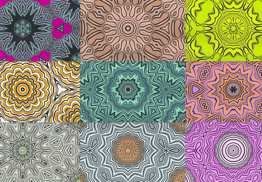 Seamless Pattern Collection with Mandala Ethic Motif