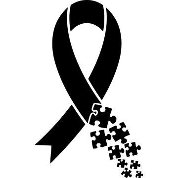 Autism Awareness Ribbon Silhouette Vector