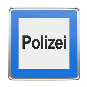 """Hinweisschild mit der Bedeutung """"Polizei"""". 3d Rendering"""