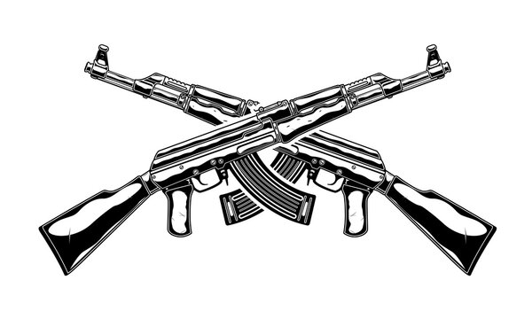 Monochrome detailed illustration of crossed kalashnikov assault rifle. Isolated vector template