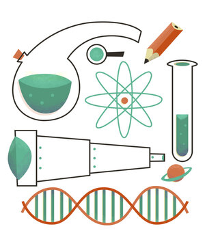 Set of scientific symbols Retro Vintage Style DNA Telescope, Atom, Pencil, Planet, Retort, Flask, Test Tube, Magnifying Glass