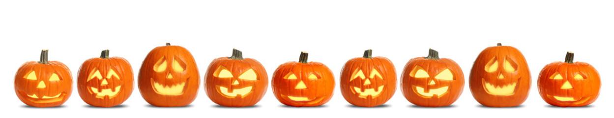 Printed kitchen splashbacks London Set of carved Halloween pumpkins on white background. Banner design