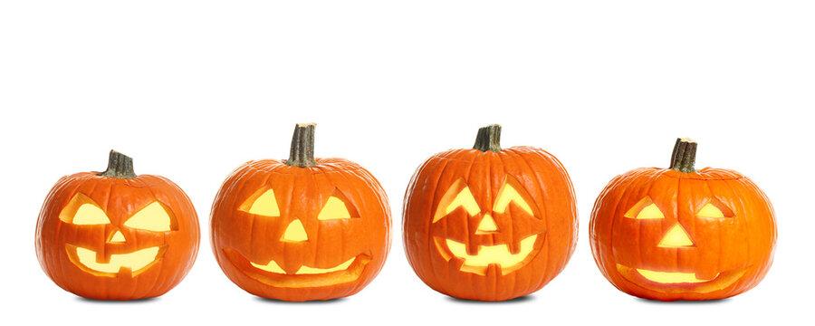 Set of carved Halloween pumpkins on white background. Banner design
