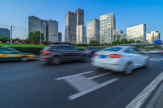 cars driving on inner city road of Beijing, china, asia.
