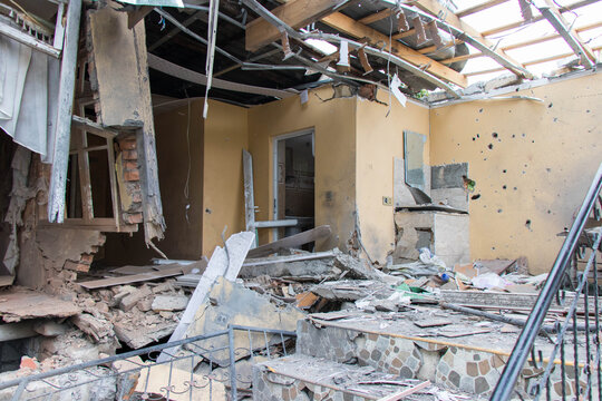 The destruction and remnants of war caused by the armenian military. Karabakh war between Azerbaijan and Armenia. Tartar - Azerbaijan: 10 October 2020