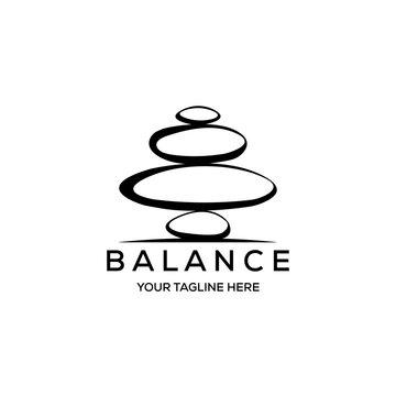 stone rock balancing logo spa wellness vector emblem illustration design