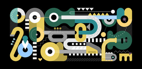 Geometric style vector illustration, colored flat design of different musical instruments isolated on a black background. Abstract art composition of electric guitar, acoustic guitars, trumpet and sax