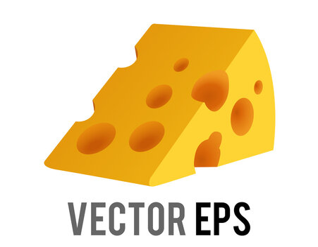 Vector wedge of yellow orange cheese emoji icon with holes