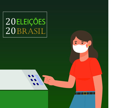 2020 Elections - Brazil people voting queue with protective mask – vector