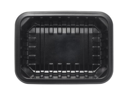 Black plastic food tray isolated on white background. top view.