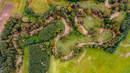 Fototapeta meandry rzeki Piotrówki, granica Polsko-Czeska na Śląsku z lotu ptaka obraz