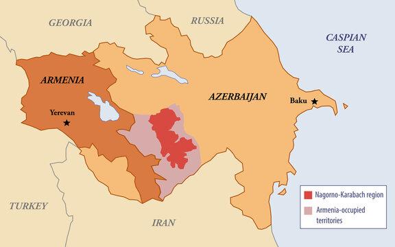 Illustration map of the Nagorno-Karabakh region between Armenia and Azerbaijan