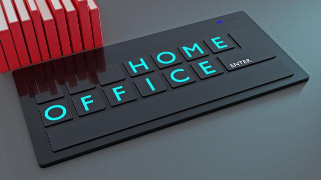 HOME-OFFICE, Veränderung der Arbeitswelt, miniaturisierte Computertastatur mit Begriff & Büchern