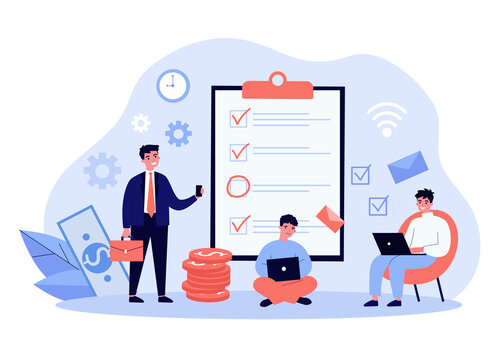 Businessman with his team working on project. Check-list, planning, startup. Flat vector illustration. Project management concept can be used for presentation, banner, website design, landing web page