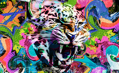 bright colorful art with tiger head
