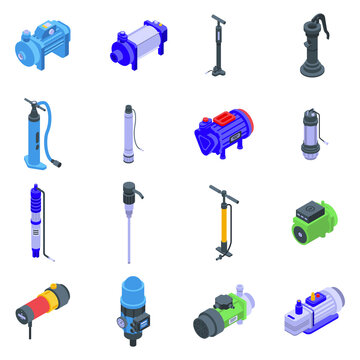 Pump icons set. Isometric set of pump vector icons for web design isolated on white background