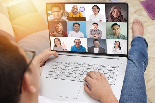 Teleconference during work from home due to coronavirus covid pandemic. Group video call shows people participated in online meeting, new normal. There are 6 people in this image.