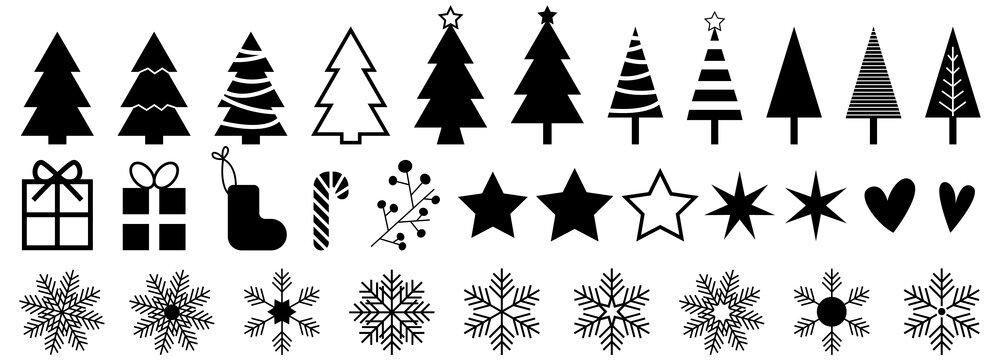Christmas vector iconset, background, black.Christmas design elements, vector illustration EPS 10