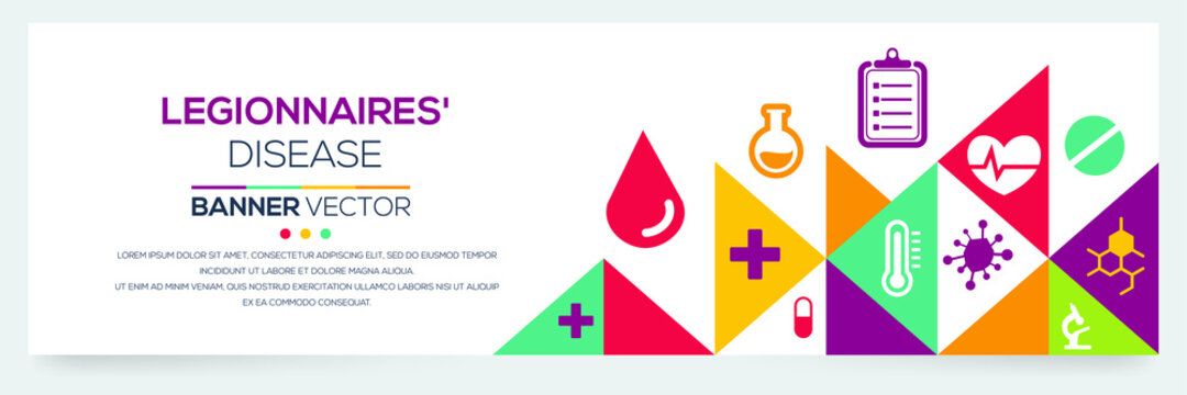 Creative (Legionnaires') disease Banner Word with Icons ,Vector illustration.
