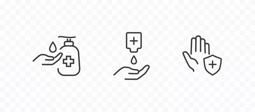 Icon of hygiene procedure, disease prevention. Vector sanitizer and antiseptic alcohol gel symbol. Healthcare wash hands with soap, antibacterial icon