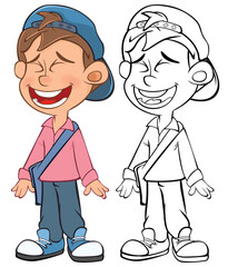 Vector Illustration of a Cute Cartoon Character Boy for you Design and Computer Game. Coloring Book Outline Set