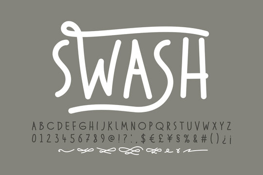 Handwitten font with swashes. Alphabet letters, numbers, punctuation marks, symbols and alternates vector illustration