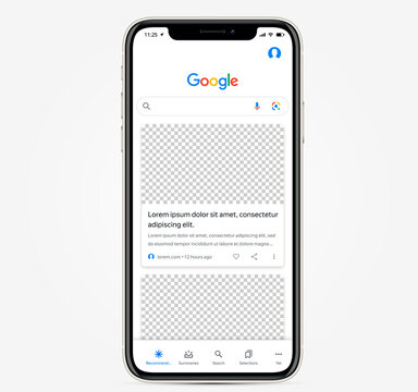 MOSCOW, RUSSIA - OCTOBER 16, 2020: Apple inc. smartphone with open Google browser application. Main search page with news recommendation template. Vector illustration EPS10