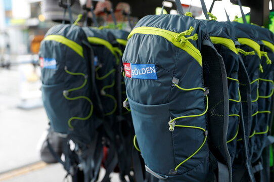 Backpacks are on display in a sport shop in Soelden