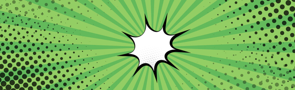Panoramic green comic zoom with lines - Vector