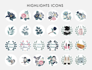Wall Mural - Vector illustration of Instagram Highlights cover icons. Set of beautiful flowers and branches. Design for bloggers