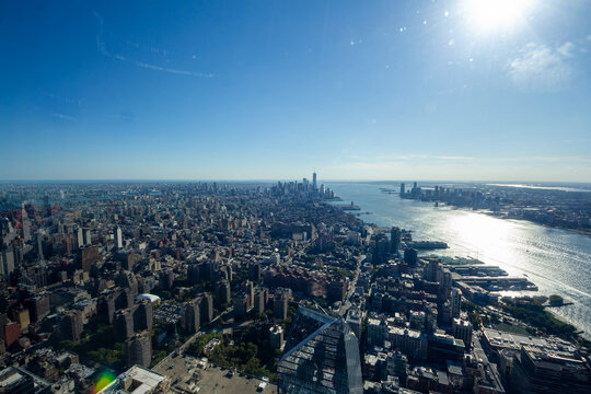 """New York, NY / United States - Oct. 14, 2020: a landscape view of lower Manhattan, seen from """"The Edge"""" an observation deck on 30 Hudson Yards."""