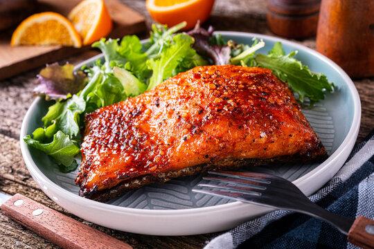 Orange and Ginger Glazed  Cedar Planked Salmon