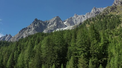 Wall Mural - Southern Side of Mont Blanc Massif From Aerial Footage. Vel Ferret Valley Region