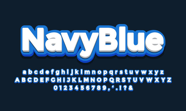 navy blue with white 3d font effect or text effect design