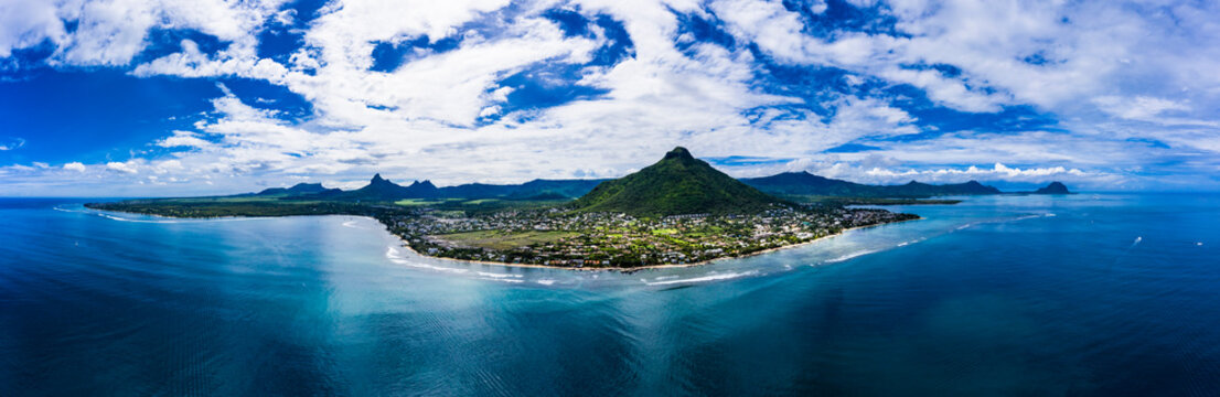Mauritius, Black River, Tamarin, Helicopter panorama of Indian Ocean and coastal village