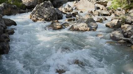 Wall Mural - Scenic Rushing Rocky Bed Mountain River. Italian Alps Val Ferret Region.